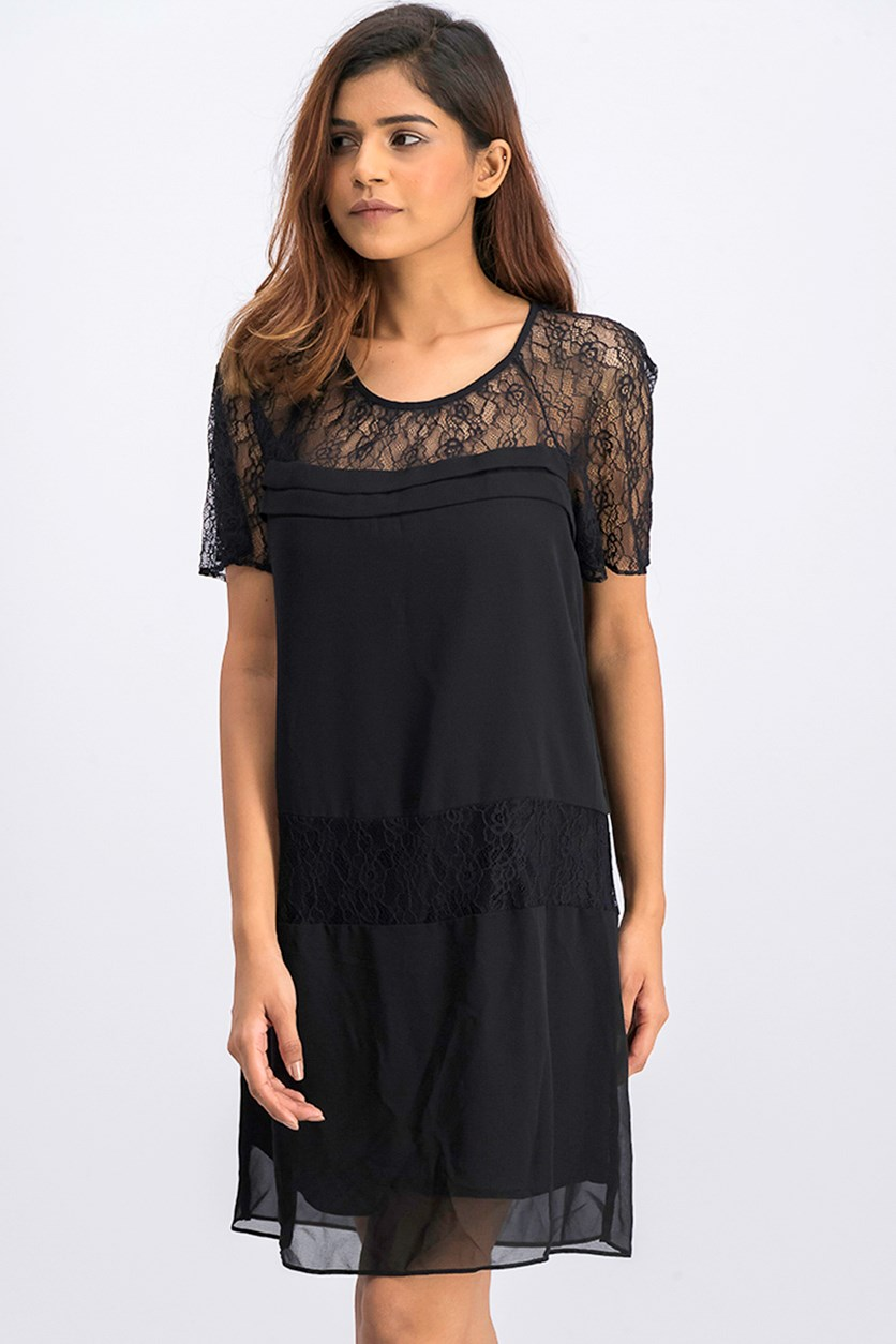Women's Tiered Lace A-Line Dress, Black