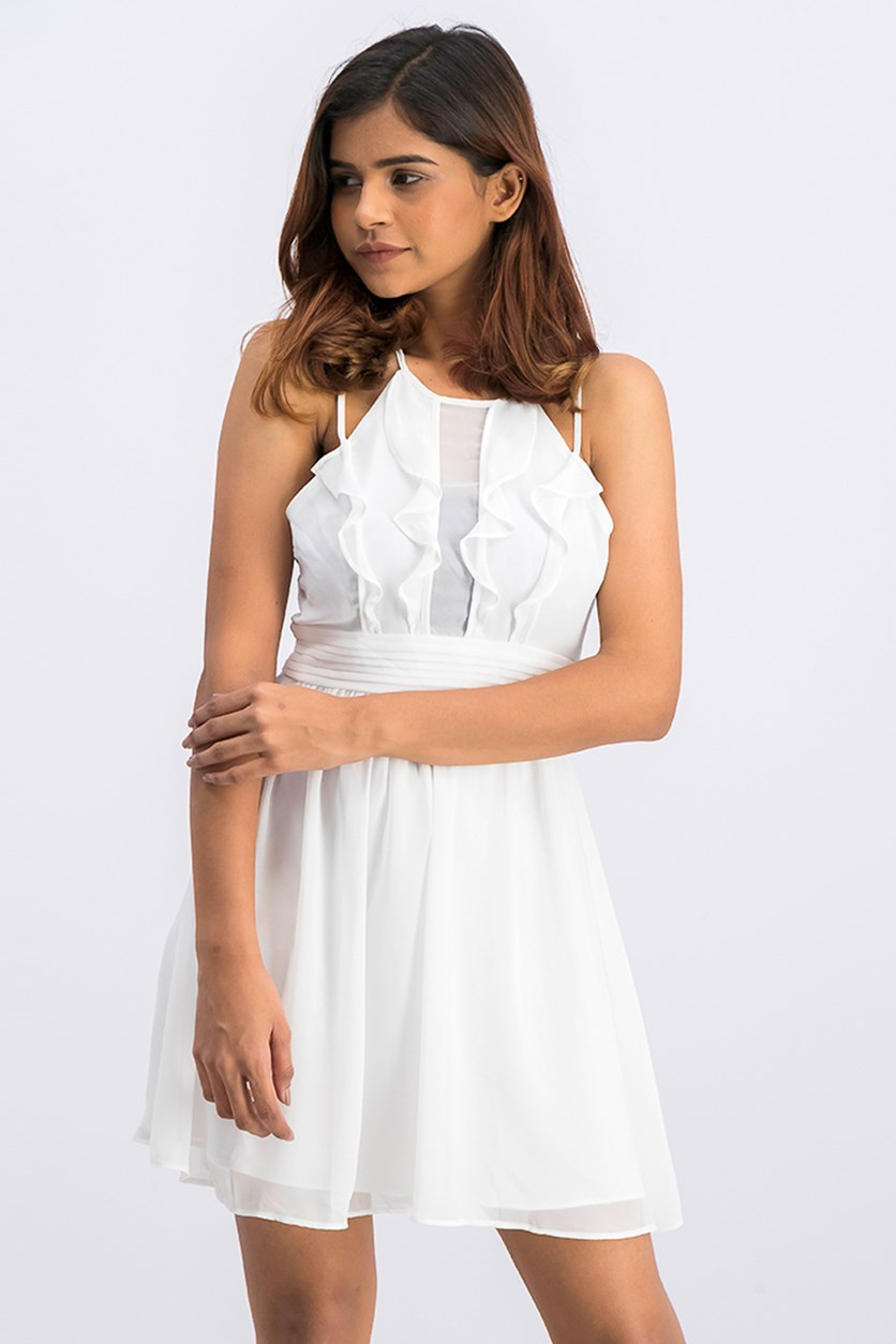 Women's Chiffon Dress, White