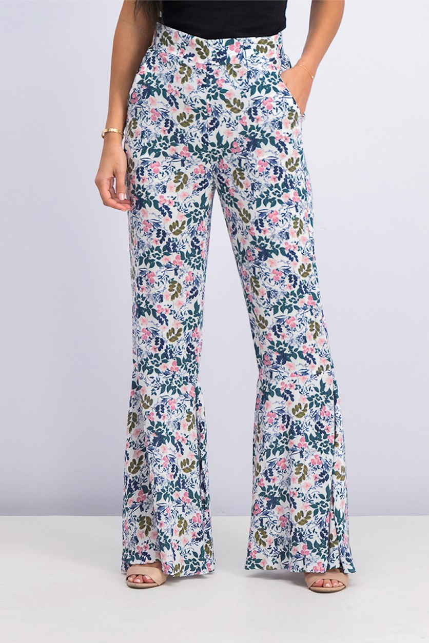 Sunprint Floral Bell-Bottom Pant, Whisper White Combo