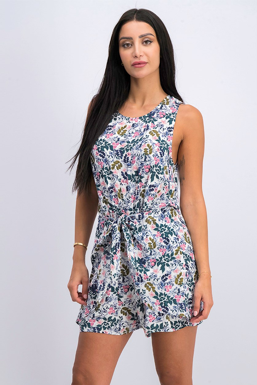 Sunprint Floral Sleeveless Romper, Whisper White Combo