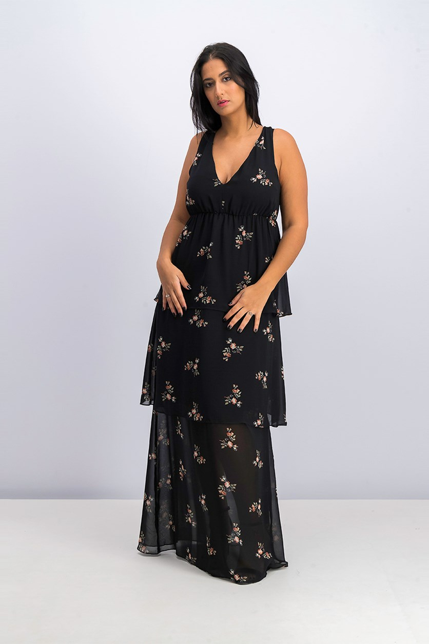 Womens Floral Crisscross Evening Dress, Black Combo