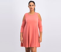 BCBGeneration Womens Cold Shoulder a-Line Casual Dress, Dusty Rose