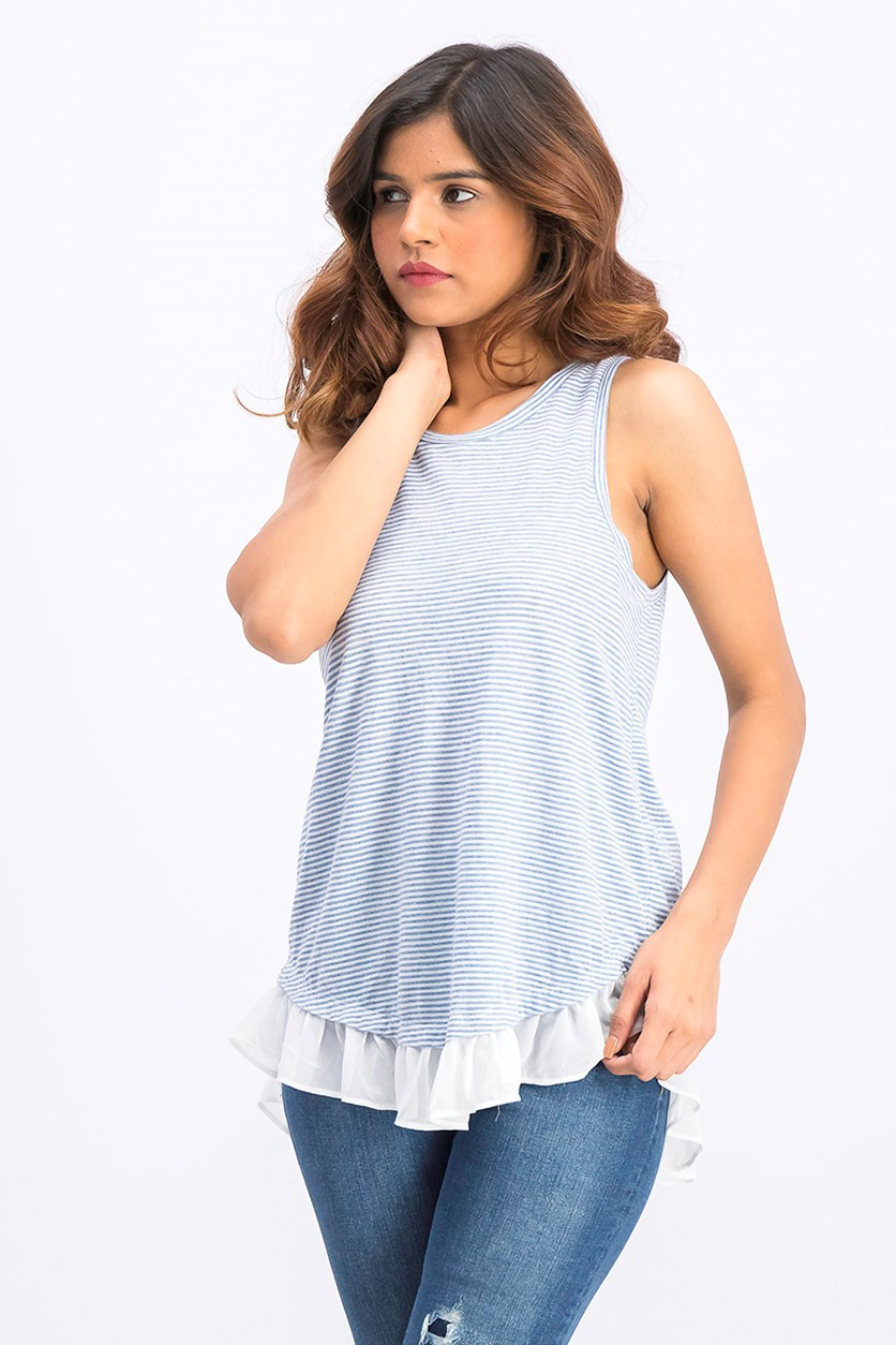 Ruffled Striped Split-Back Tank, Light Blue Combo
