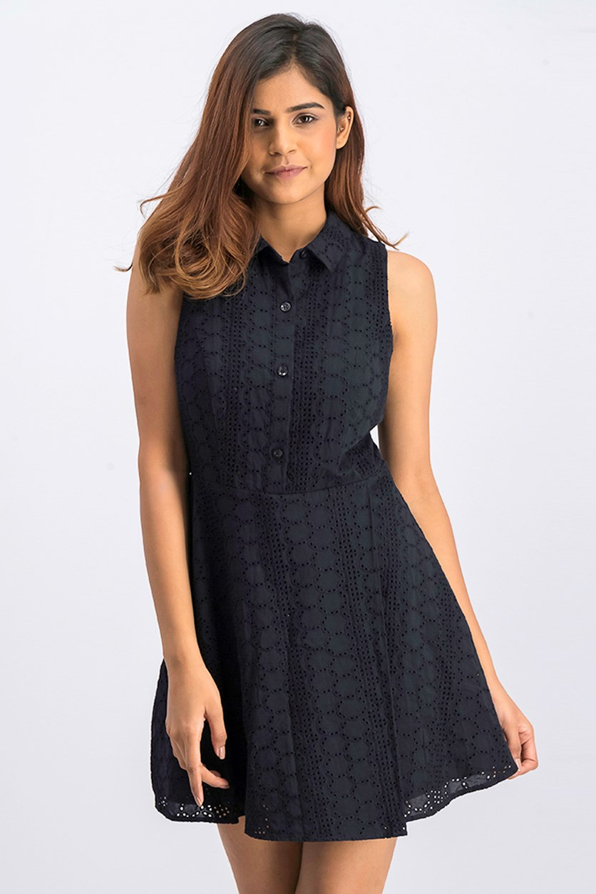 Women's Eyelet Shirt Dress, Black