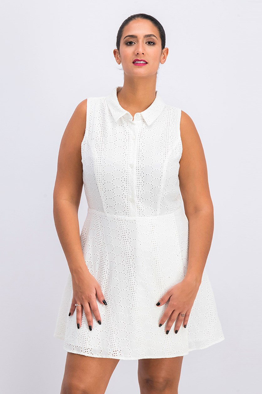 Womens Sleeveless Eyelet Mini Shirt Dress, Optic White