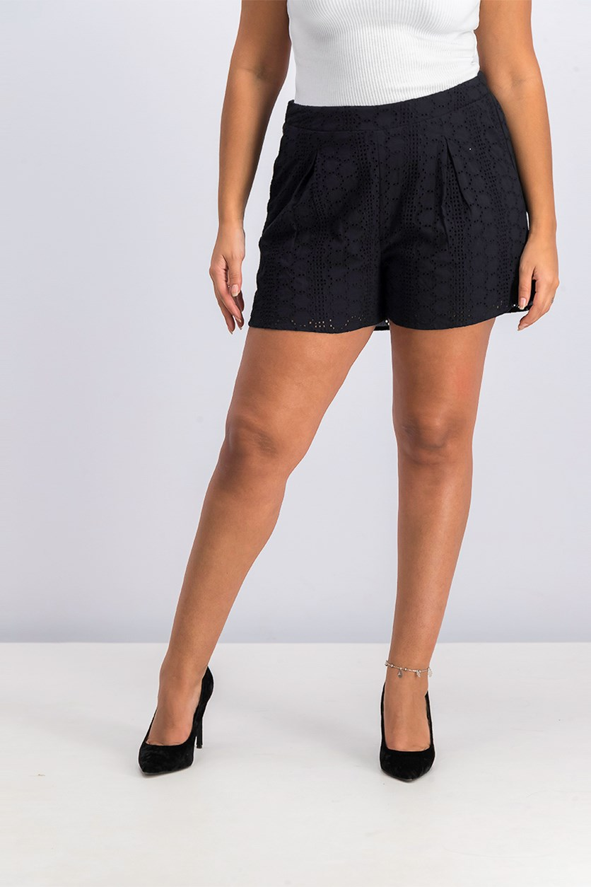 Womens Eyelet Pleated Shorts, Black