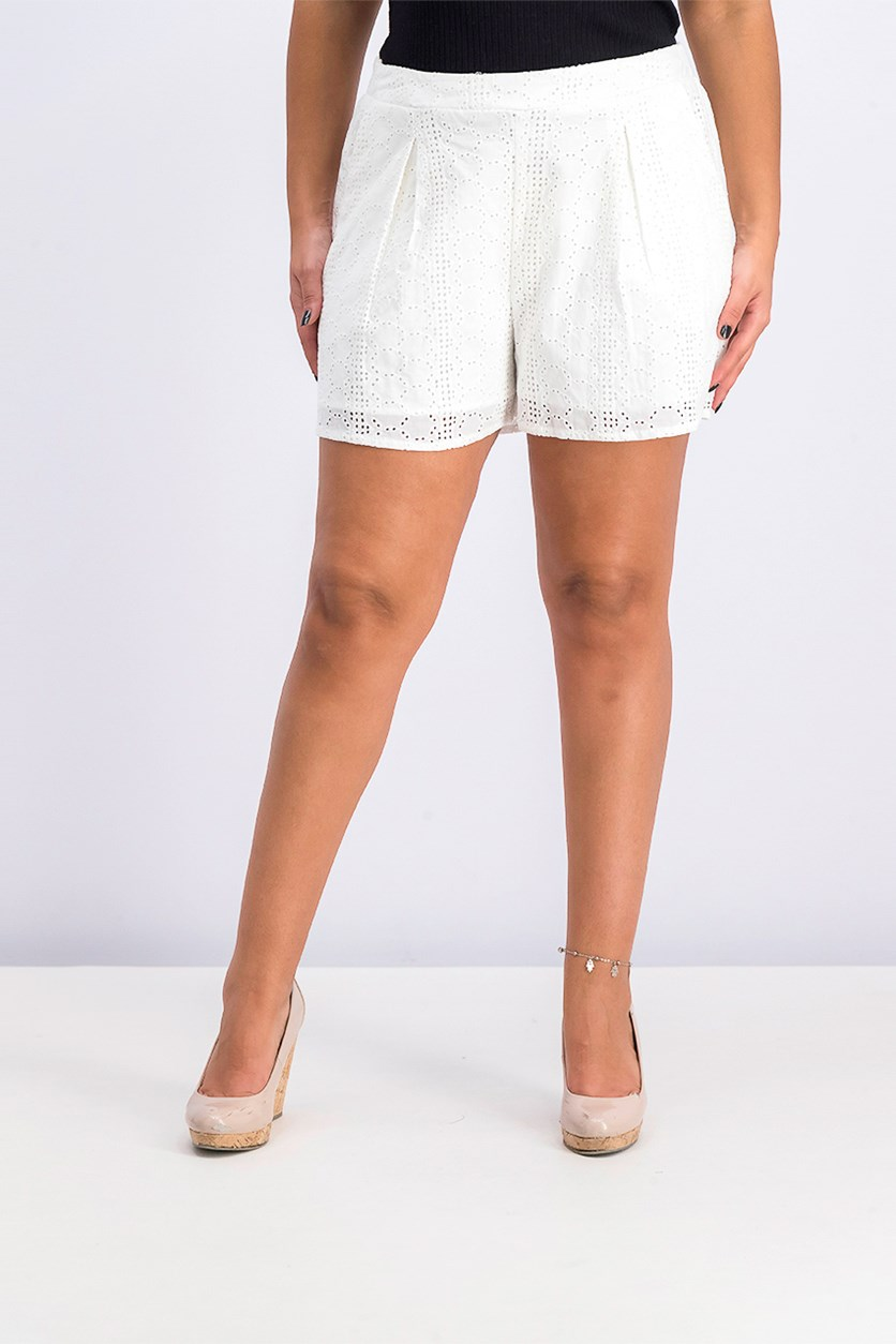 Women's Eyelet Pleated Short, Optic White
