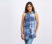 BCBGeneration Sleeveless Tie-Dye Button-Front Top, Navy Combo