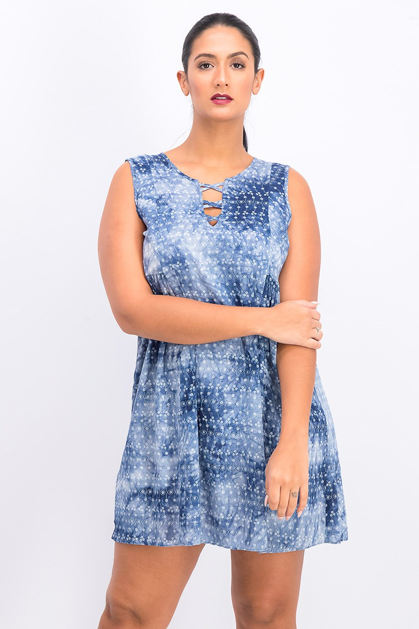 Women's Tie-Dye A-Line Dress, Navy Combo