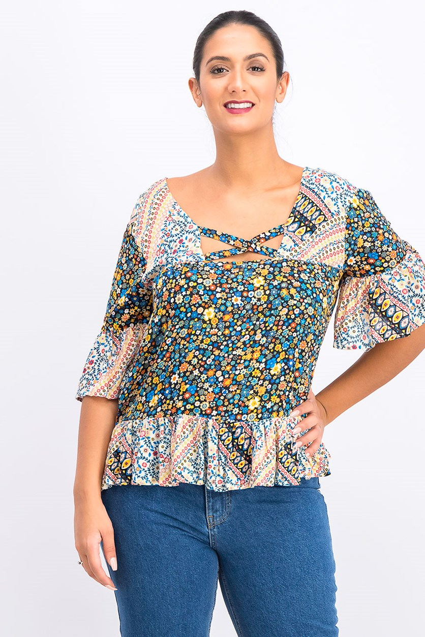 Mixed Print Bell Sleeve Top, Blue Combo
