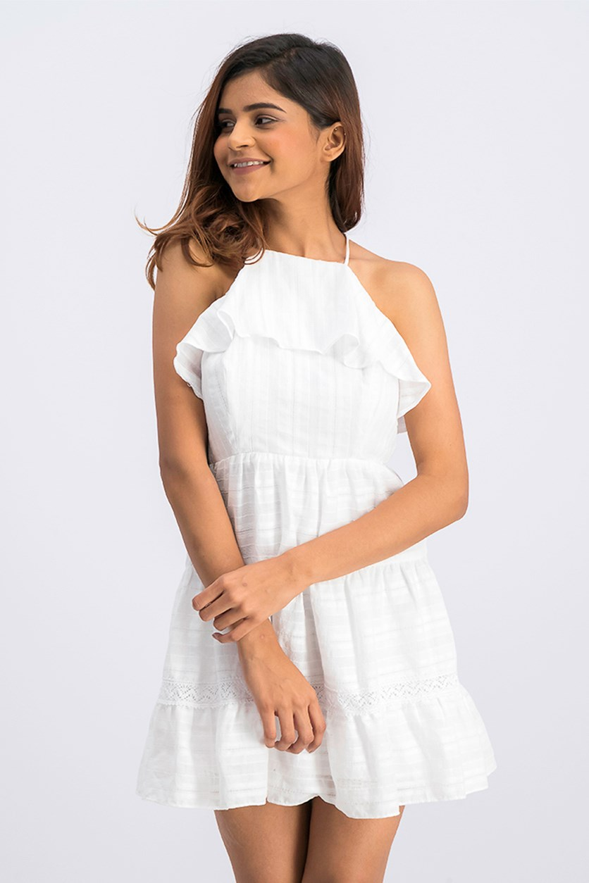Womens Ruffled Open Back Halter Dress, Optic White