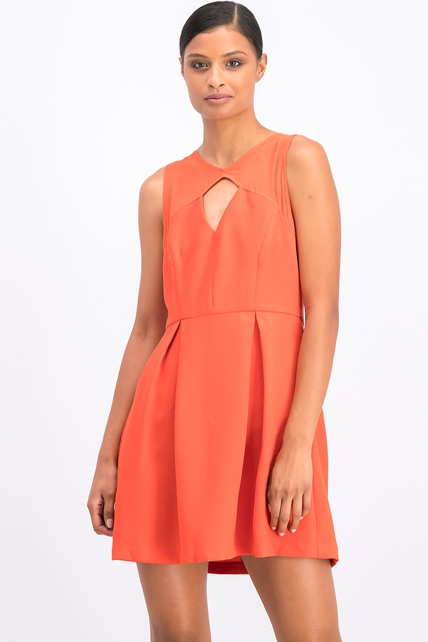 Women's Mixed-Media Pleated Dress, Saffron