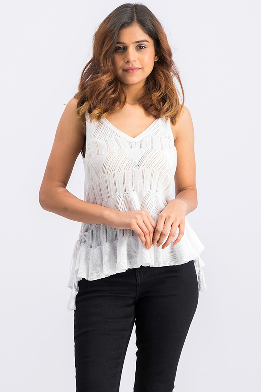 Womens Double V Ruffled Tank Top, White