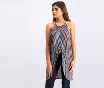 BCBGeneration Women's Striped Knot-Front Tunic Top,  Sand/Blue Combo