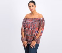 BCBGeneration Women's Tapestry Print Off-The-Shoulder Top, Saffron Combo