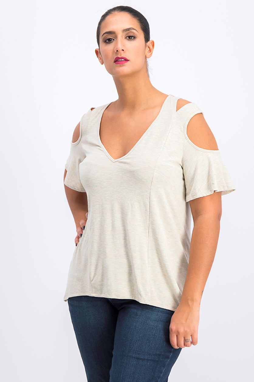 Women's Cold-Shoulder Cutout Top, Pink/Sage Combo