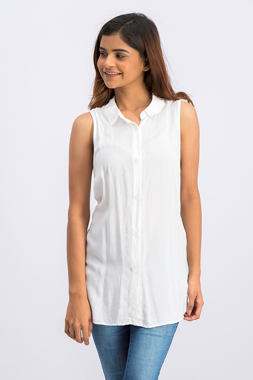 Back Lace-up Shirt, Optic White