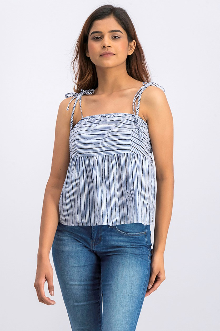 Striped Tie Shoulder Tank, Blue/White