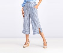 Striped Cropped Pull-On Pants, Blue Combo