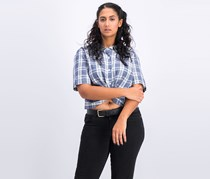 BCBGeneration Twist-Front Plaid Shirt, Navy Combo