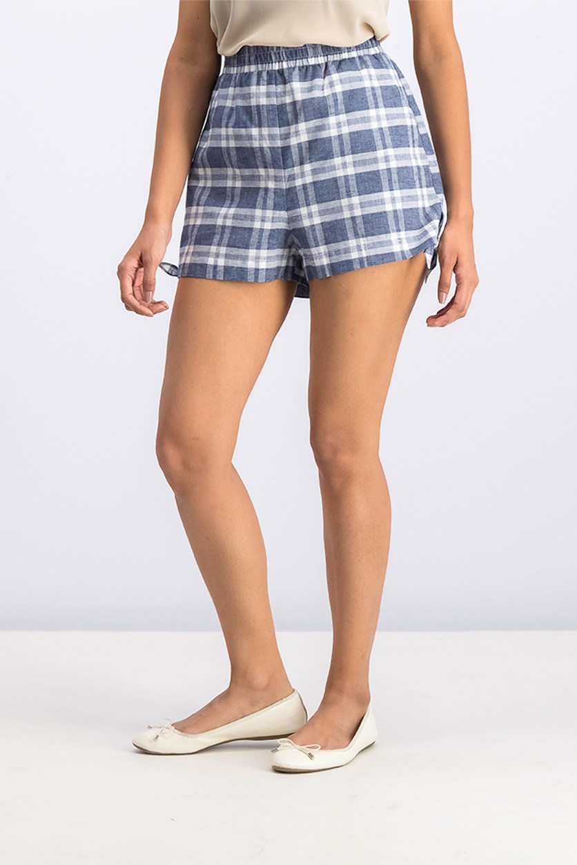 Women's Plaid Side-Tie Short, Navy Combo