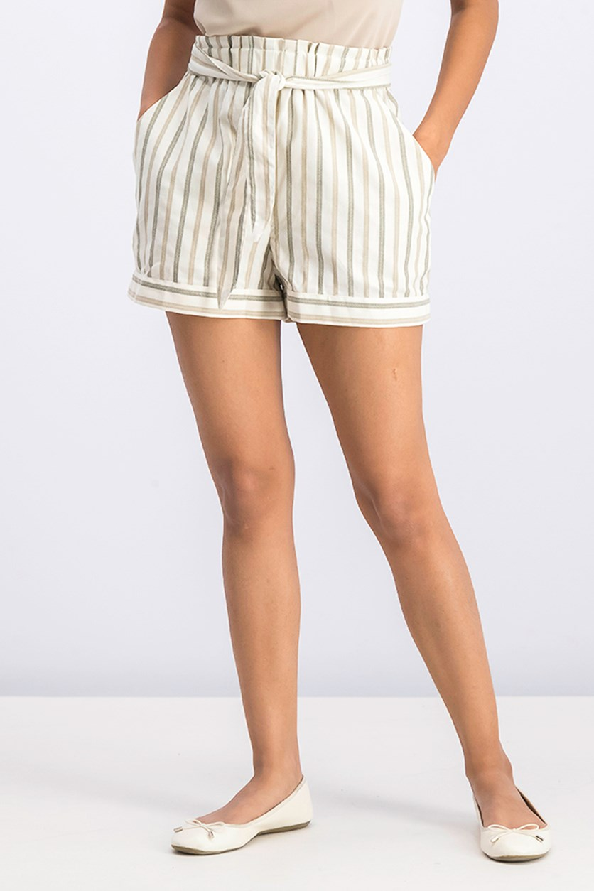 Striped Paperbag-Waist Shorts, Dusty Olive Combo