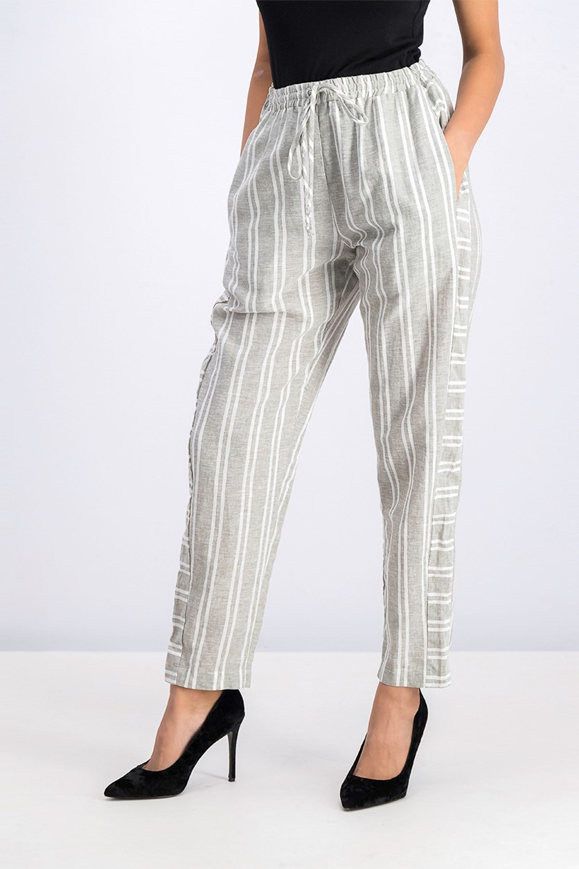 Striped Drawstring Ankle Pants, Dust Olive