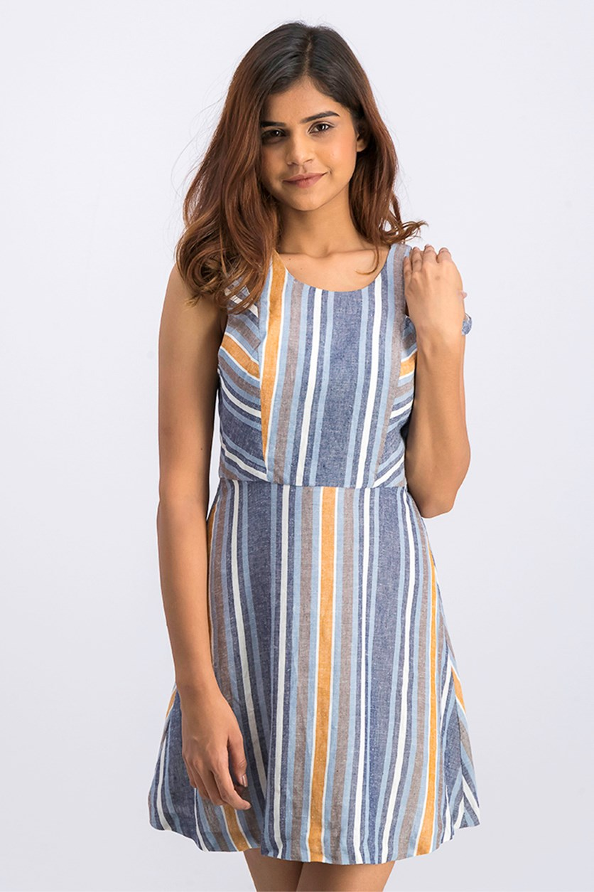 Cutout Striped Fit-and-Flare Dress, Blue Combo