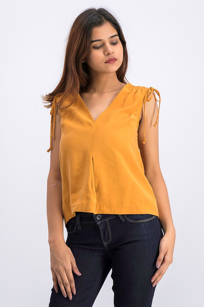 Drawstring Sleeveless Top, Golden Rod
