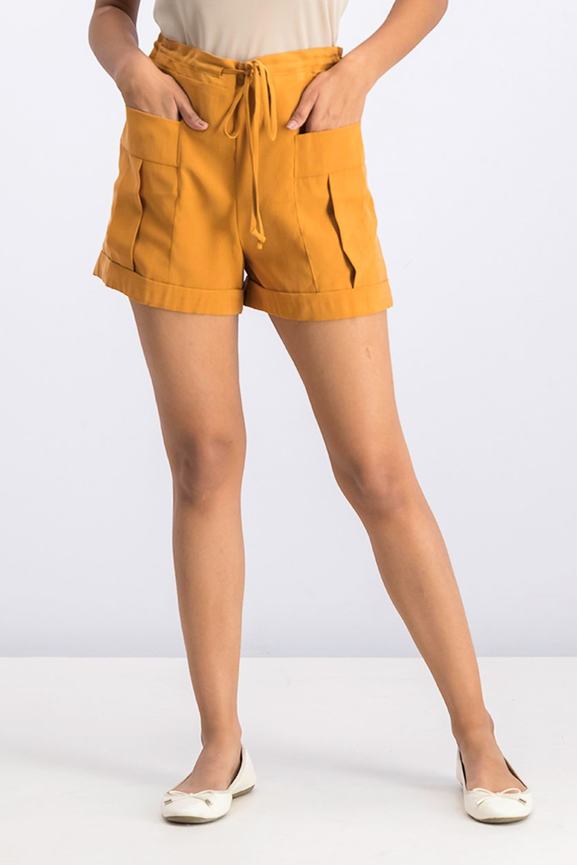 Patch Pocket Drawstring Utility Short, Golden Rod