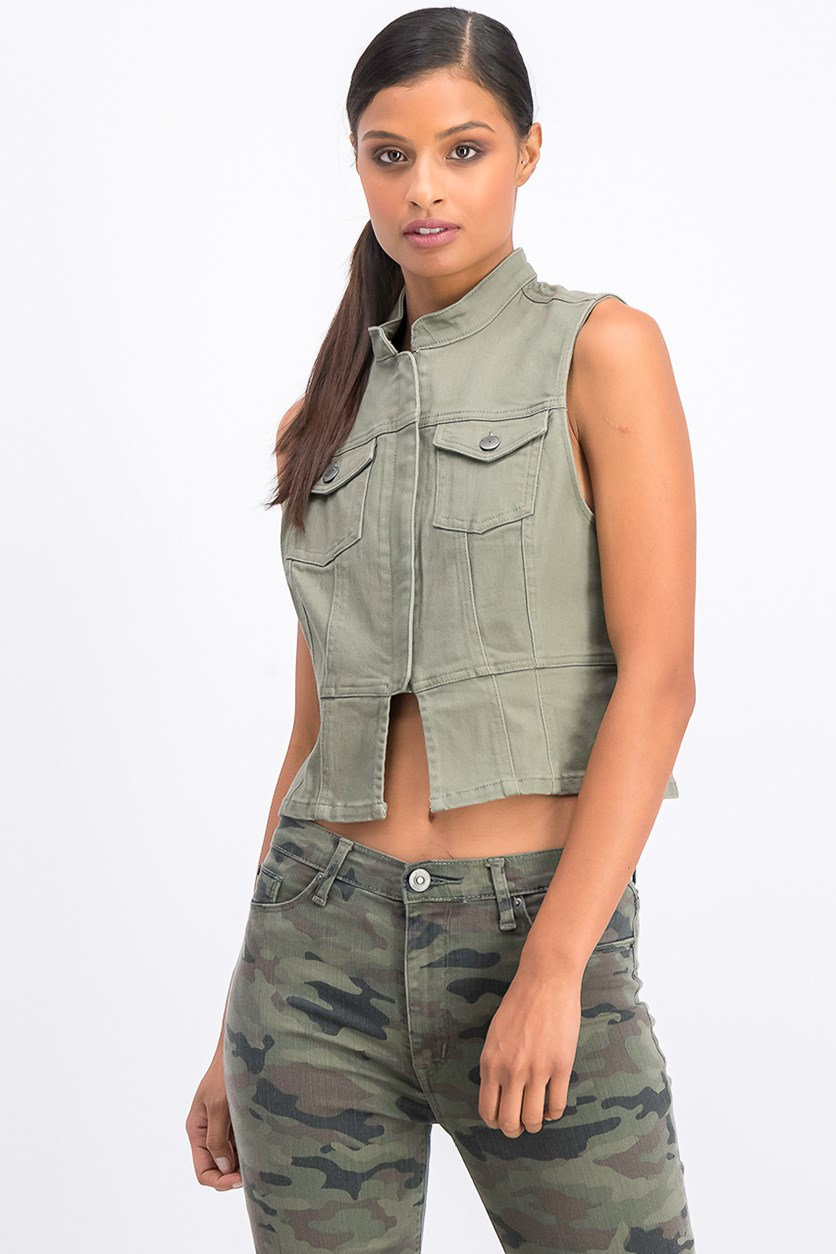 Womens Military Sleeveless Cropped Jacket, Dusty Olive