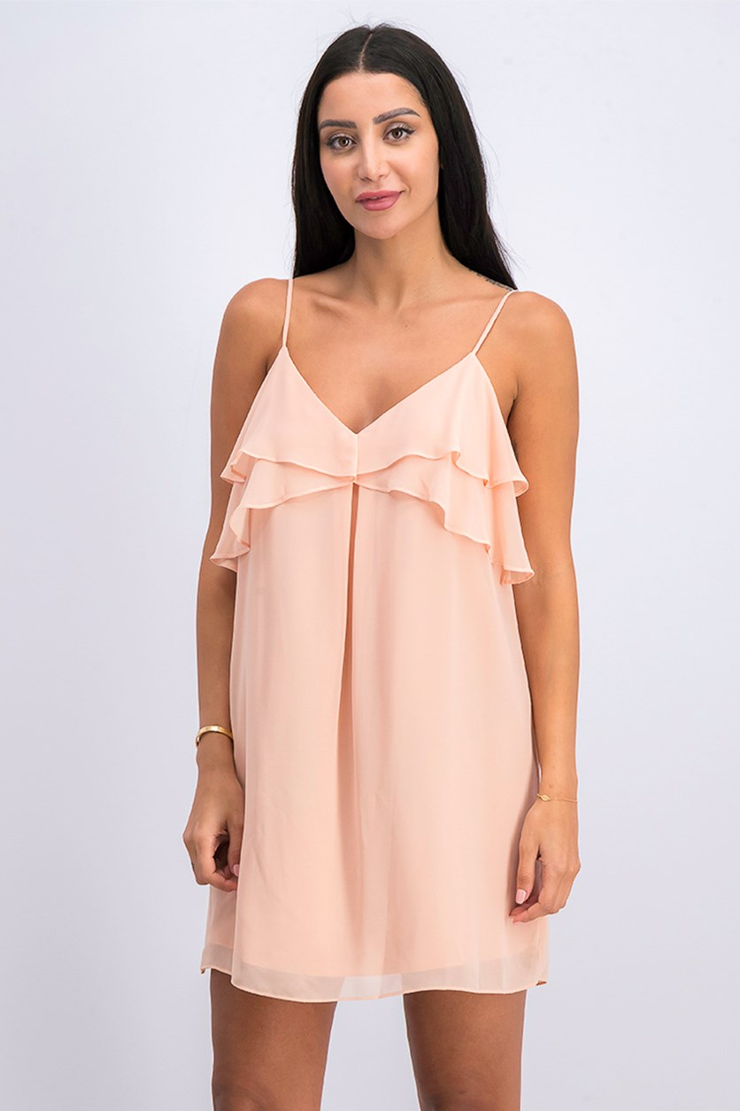 Ruffled Mini Dress, Pink Coral