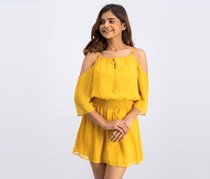 Cold-Shoulder Smocked Dress, Mineral Yellow