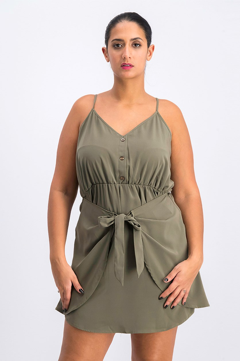 Womens Tie-Front Shirred Casual Dress, Olive