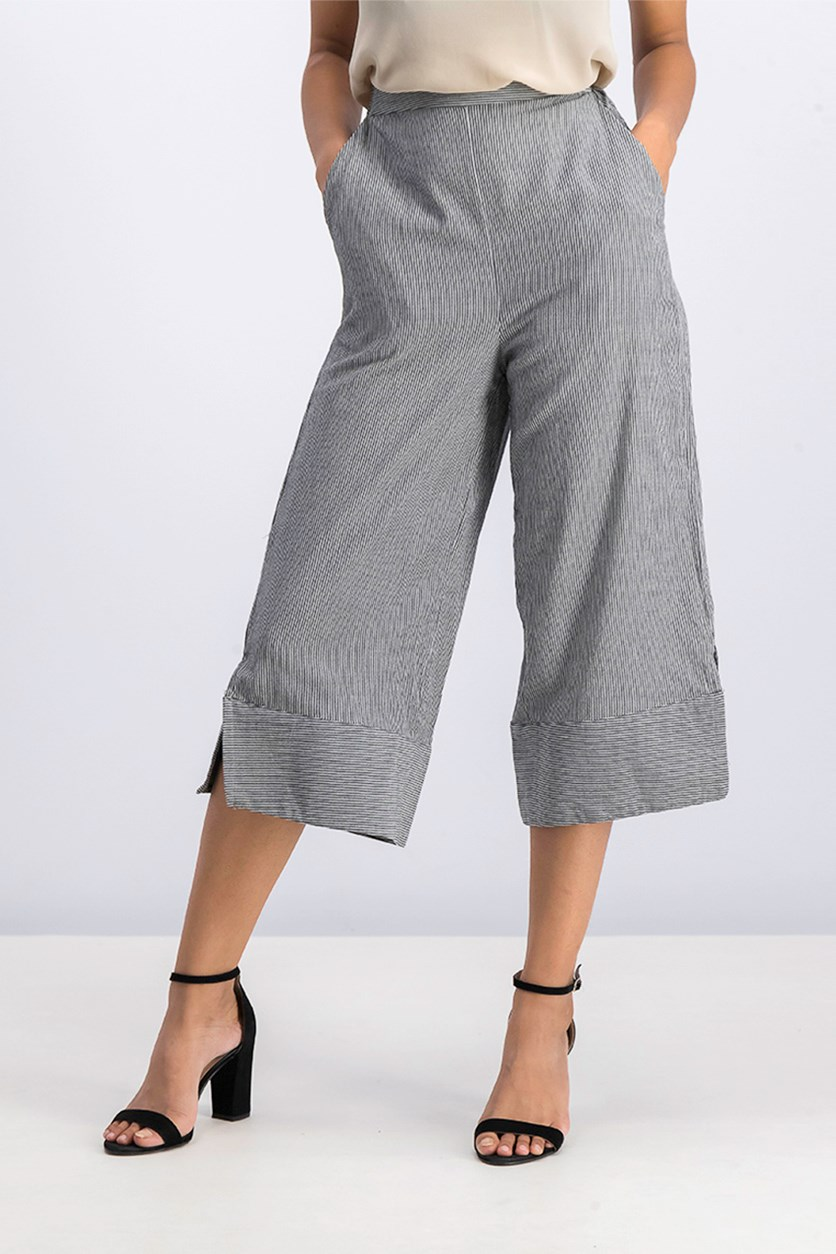 Women's Pinstripe Pull-On Crop Pant, Black Combo