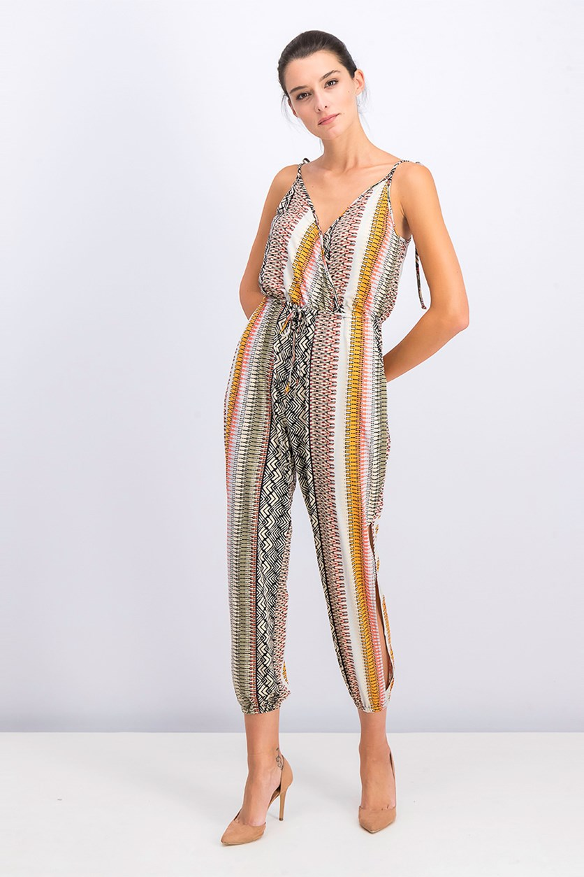 Printed Tie-Shoulder Surplice Jumpsuit, Sand/Black/Olive
