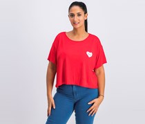 BCBGeneration Women's Graphic Cropped Top, Red