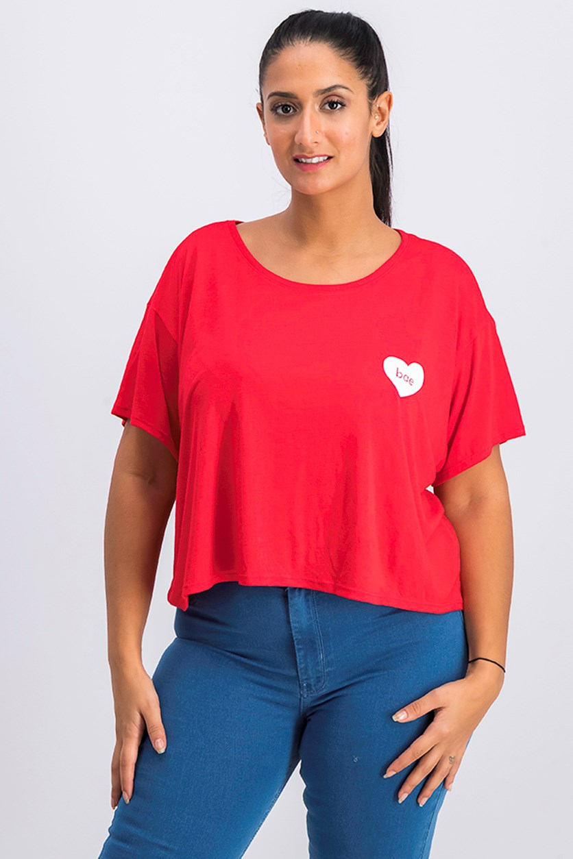 Women's Graphic Cropped Top, Red