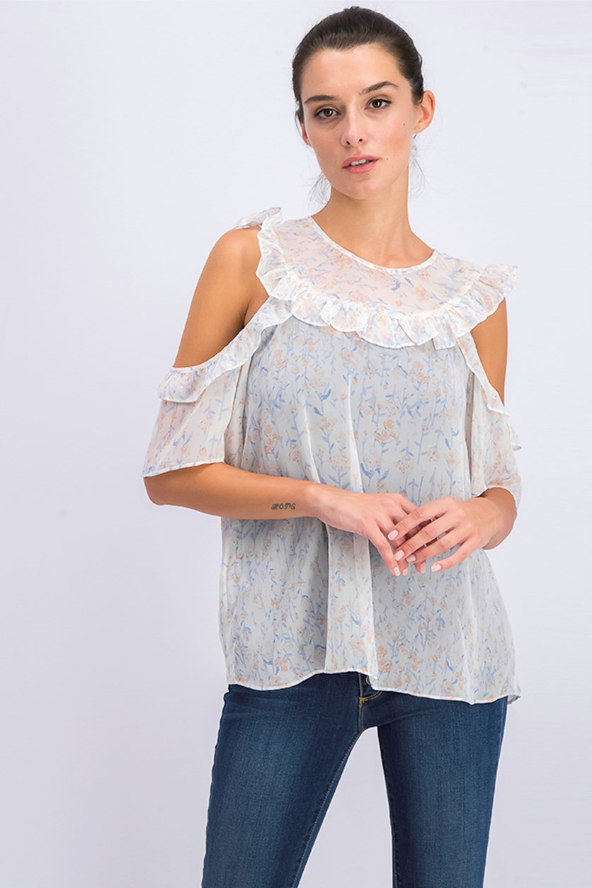 Women's  Floral Cold-Shoulder Ruffle Top, Whisper White