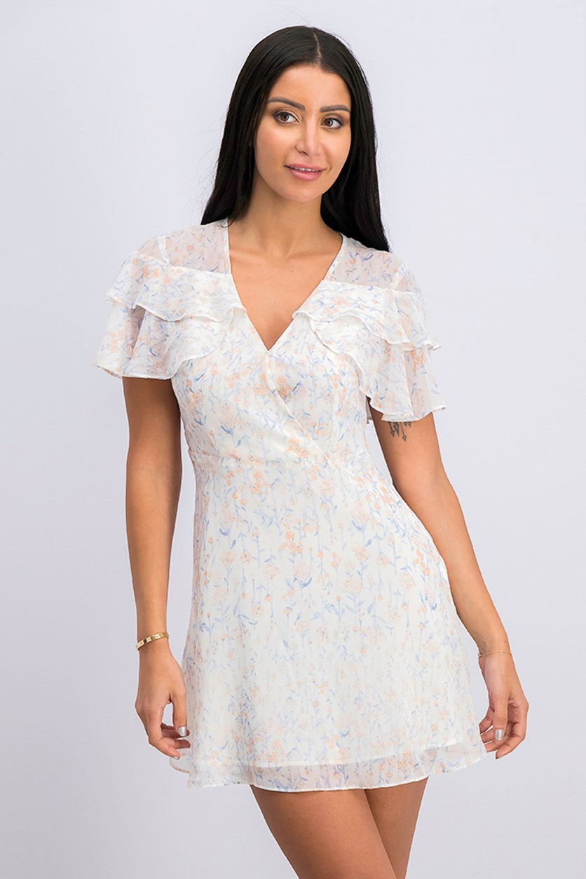 Ruffled Floral Print Dress, Whisper White