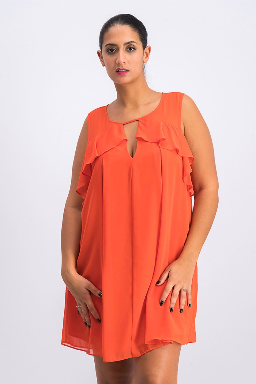 Women's Mixed-Media A-Line Dress, Saffron