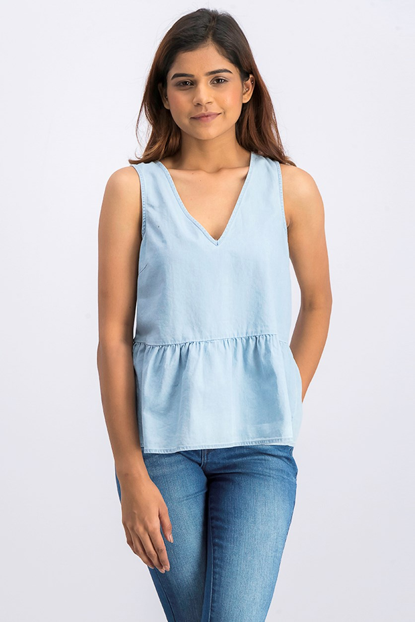 Cotton Ruffle Denim Top, Light Wash