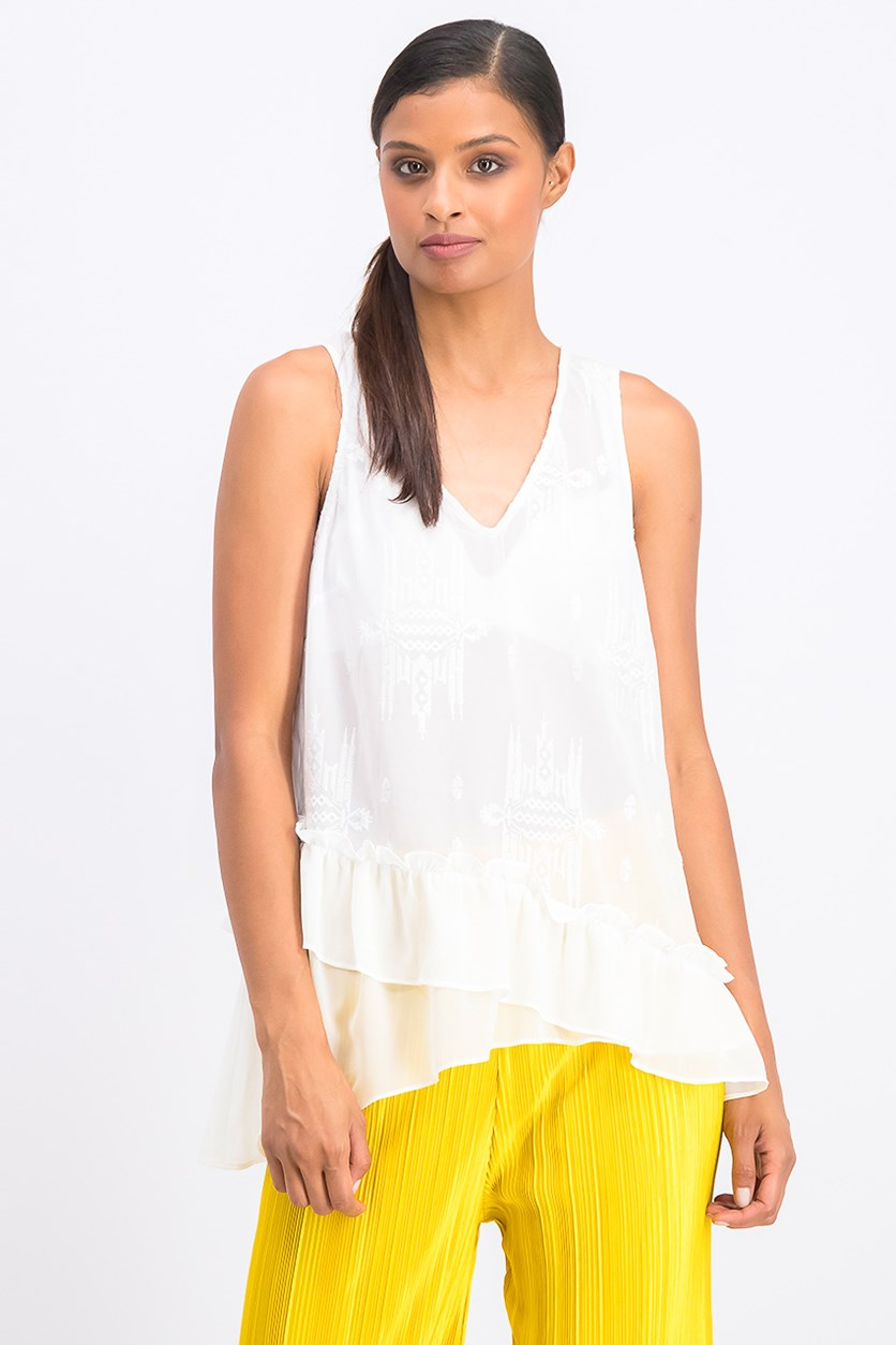 Women's Embroidered Asymmetrical Tank Top, Optic White