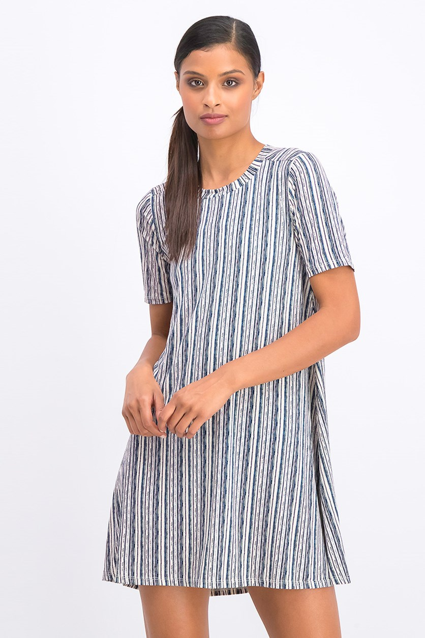 Women's  Birchy Stripes A-Line Dress, Sage/Navy Combo