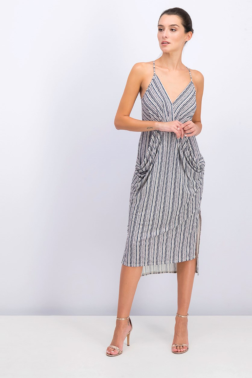 Women's Striped Drapey Midi Dress, Sage/Navy Combo
