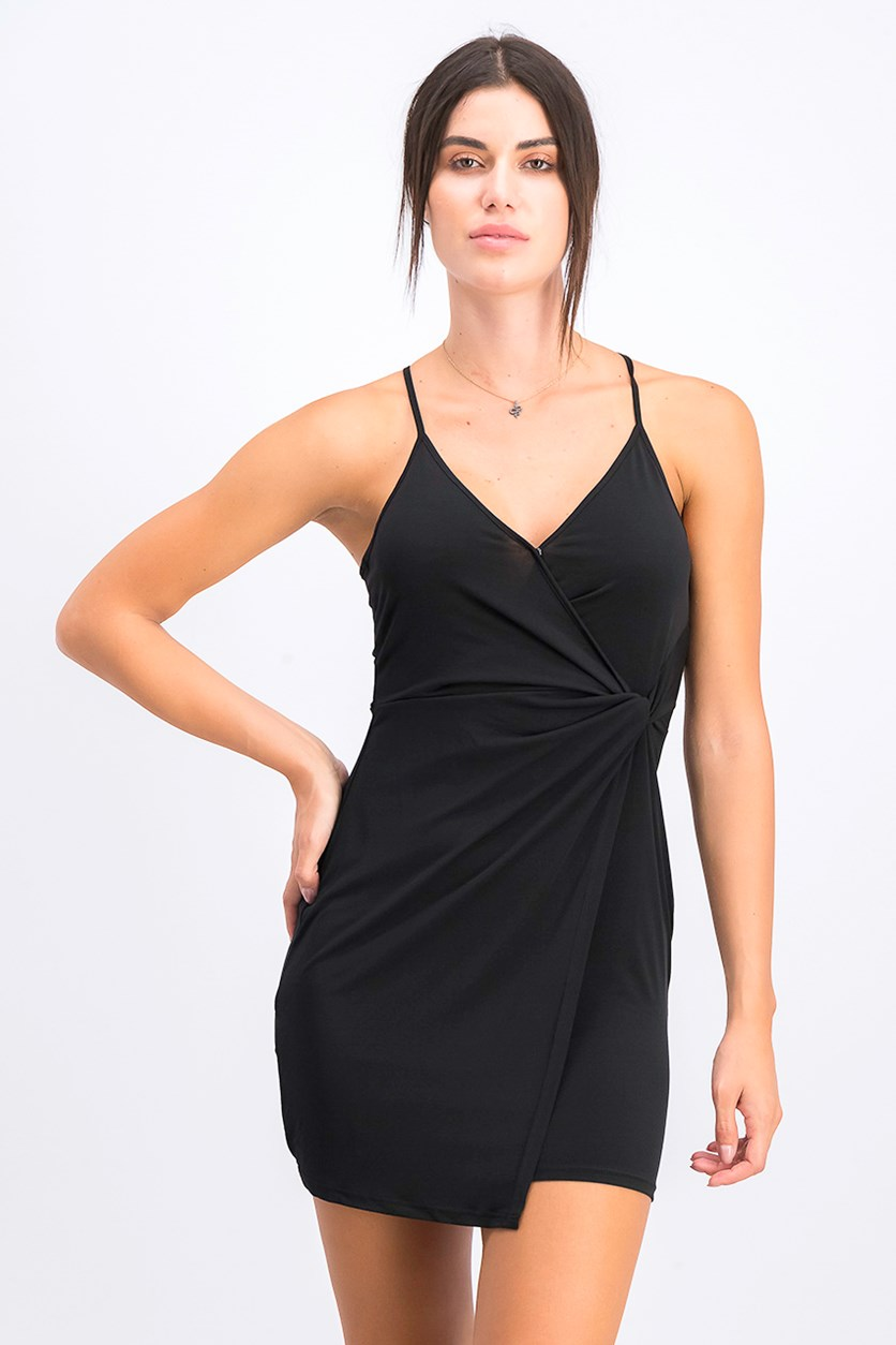 Women's Twist-Front Surplice Dress, Black