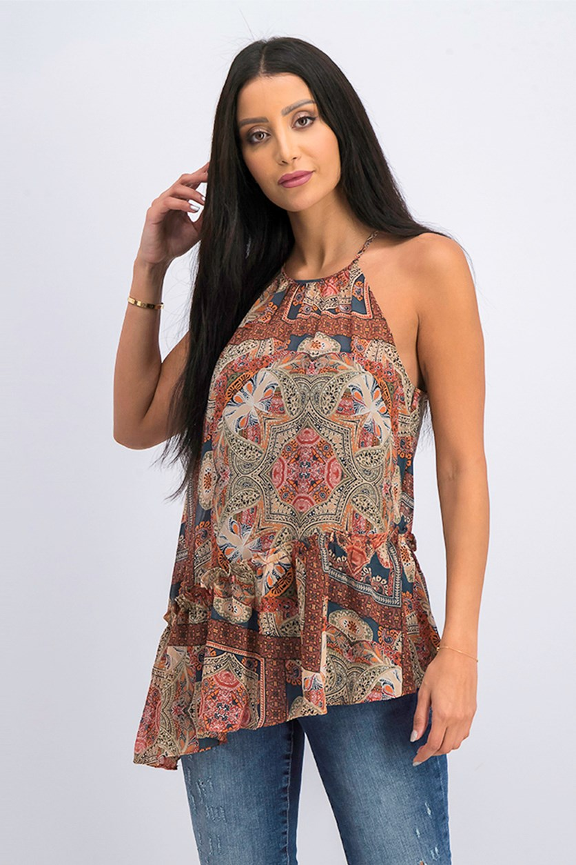 Womens Printed Peplum Halter Top, Orange Spice