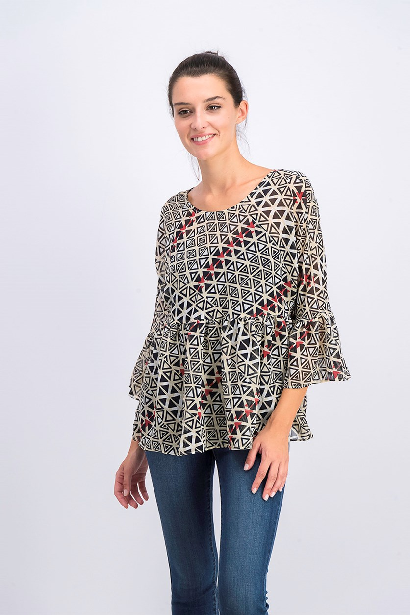 Womens Printed Ruffled Peplum Top, Sand Combo