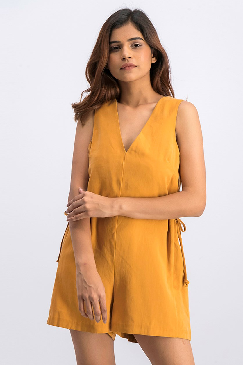 Women's Sleeveless Romper, Goldenrod