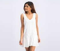 BCBGeneration Womens Embroidered Drop-Waist Romper, Optic White